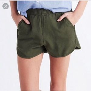 Madewell Stretchy Olive Green Pull On Shorts